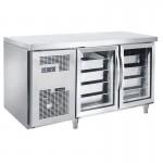 君诺JN-GNG1330L2FB/C玻璃门冷藏工作台 GN盘透明展示柜工作台冷柜
