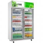 绿零二门冷藏展示柜SGZ-1000L2F 冷藏保鲜展示柜 饮料展示柜 超市冷藏展示柜