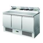银都三门平面开口沙拉台ESL3853 比萨冷藏工作台 操作台冷柜