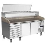 银都风冷藏两门批萨抽屉柜EPF3480 烤盘冷藏柜