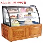 丽彩糕点蛋糕展示柜 木纹蛋糕保鲜展示柜 弧形保鲜蛋糕柜