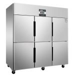绿零六门冷冻柜SBC-1.6L6FD 风冷无霜冰箱 不锈钢六门冰柜