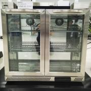 冰立方二门吧台展示柜冰箱BC190AG2风冷双玻璃门不锈钢柜面饮料柜